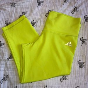 Adidas Neon Lime Green Cropped Tights M